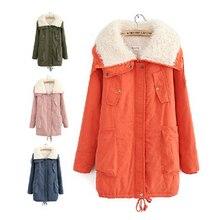 Бесплатная доставка 2015 осень зима женская сгущает бархат warme куртки женщины цвета конфеты плюс размер хлопка-ватник