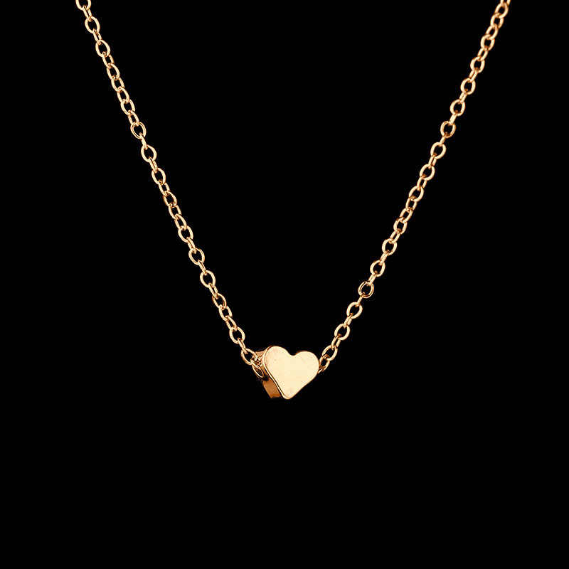 Fashion peach heart beads necklace women trinket silver gold chain choker jewelery pendant neckless woman layered necklaces J40