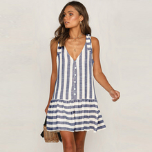 Fashion summer blue dress Sleeveless Striped women dresses Spaghetti Strap holiday beach striped vestidos clothing D30