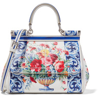 Luxury Brand Sicily Ethnic Flower Printed Genuine Leather Tote Bag Women Platinum Bags Handbag Purse Female Shoulder Bag/Handbag