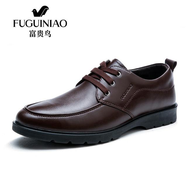 FUGUINIAO Black Leather Men Dress Shoes men s flats Formal Business Shoes  Wedding Dresses Shoes Oxford Shoes Lace-Up round toe 72541f983823