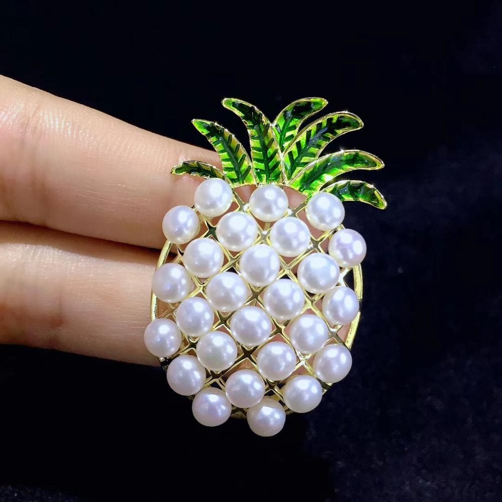 Naturel eau douce perle broche fruits ananas broche broches mode bijoux pour fille et femmes 925 en argent sterling livraison gratuite