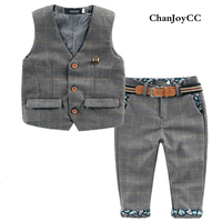 2017Autumn New Arrival Baby Boy Gentleman British Wind Suit Plaid Sleeveless Vest Long Lace Pant With