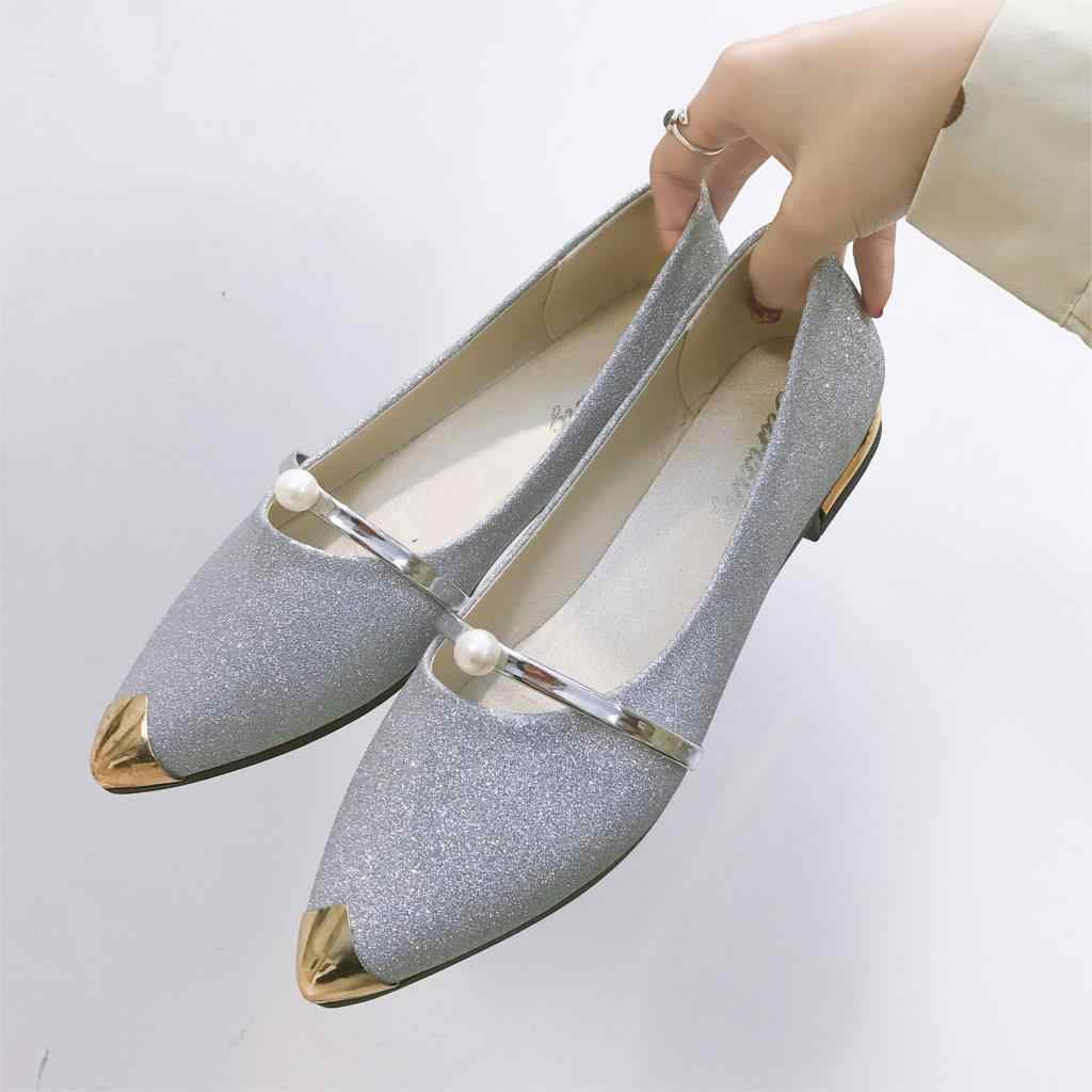... Spring Bling Woman Flats Gold Pointed Toe Mary Janes Shoes Women Slip  on Flat Shoes Bead ... a154dc5122f5