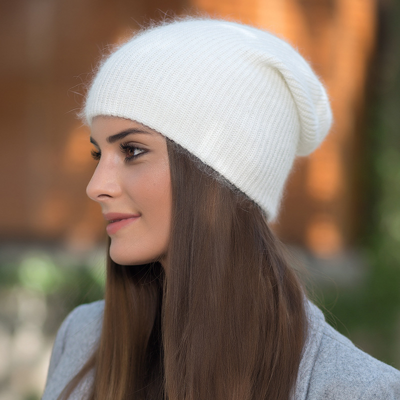 1394b064ee1af3 Autumn Winter Women Warm Rabbit Fur Knitted Beanies Thick Double Layer  Cashmere Skullies Ladies Girls Cap