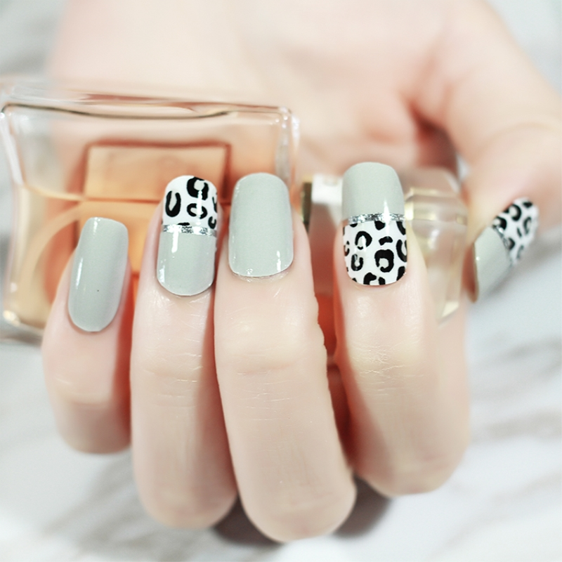 20pcs/pack Leopard & Grey Nail Sticker Full Waterproof Non-toxic Nail Art Water Decals Nails Transfer Stickers Decoration Tools Soft And Light Stickers & Decals Beauty & Health