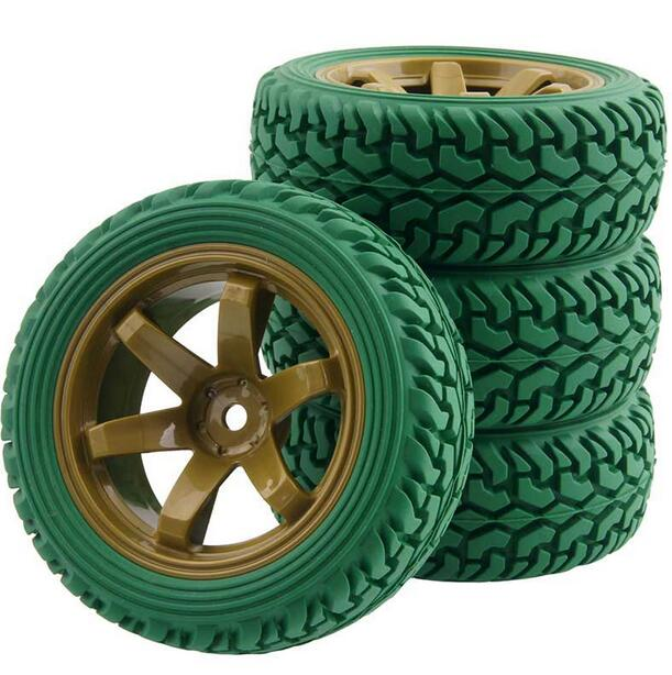 4pcs 1/16 Rally Tire Off-road tires Buggy Tyre 1/10 on road car pull rally wheel fit for RC Toy Car HSP 94123 Green 705-8019G 02023 clutch bell double gears 19t 24t for rc hsp 1 10th 4wd on road off road car truck silver