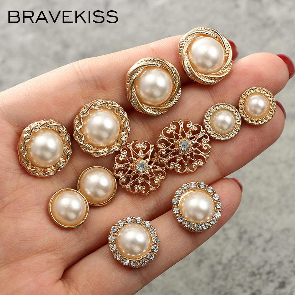 BRAVEKISS Pearl Earring Set Retro 6 Pairs Pearl Flower Stud Earrings Fashion Jewelry for Women Daily/Shopping 2018 New BPE1343