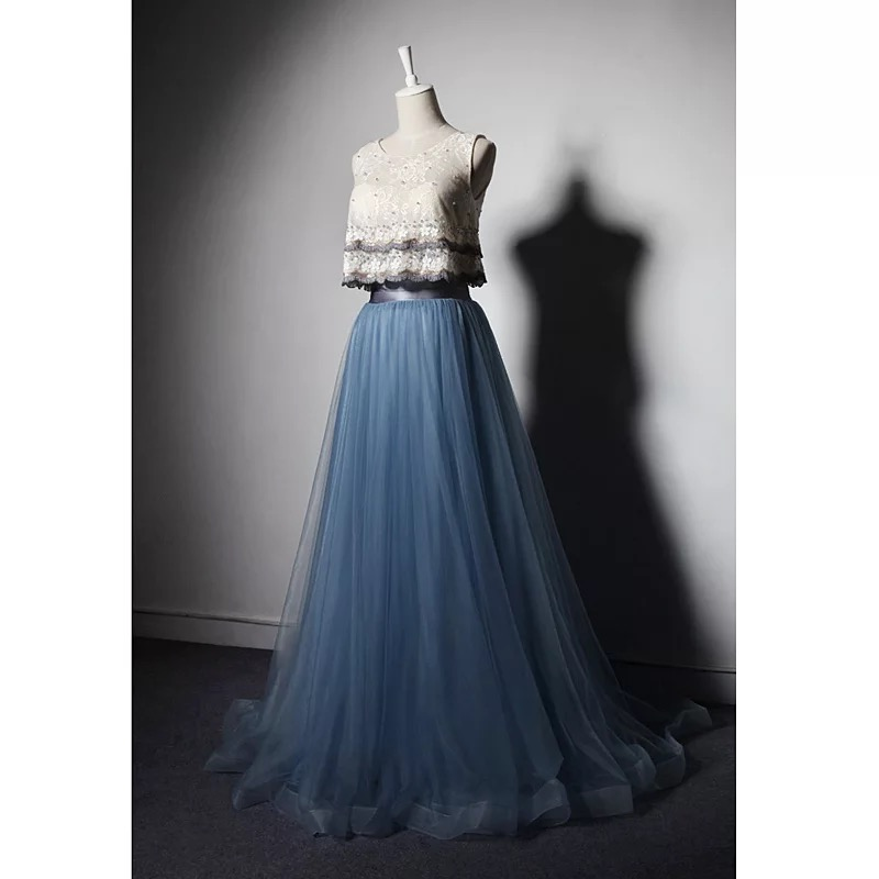 Elegant Navy Blue 2 Pieces Rustic Long Prom Dresses Lace Tank Tulle Skirts Pearls Formal Evening Gown A212 In From Weddings Events