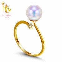 2016 merk 18 K geel goud ring, 8-9mm ronde natuurlijke parel ring, fijne parel sieraden bridal steen bruiloft bands R002