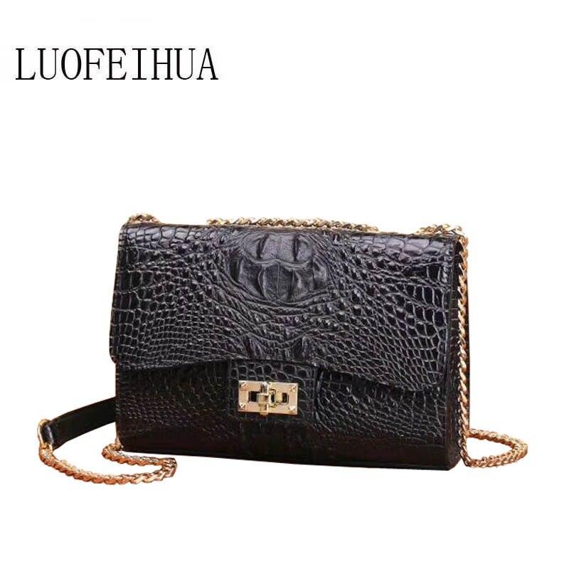 LUOFEIHUA  2019 new fashion crocodile leather handbag Shoulder Messenger Bag branded handbagLUOFEIHUA  2019 new fashion crocodile leather handbag Shoulder Messenger Bag branded handbag