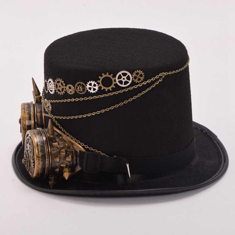 04b57dff29367 ... Fedora Unisex Women Men Steampunk Gears Floral Black Top Hat with  Glasses Decoration Vintage Headwear ...