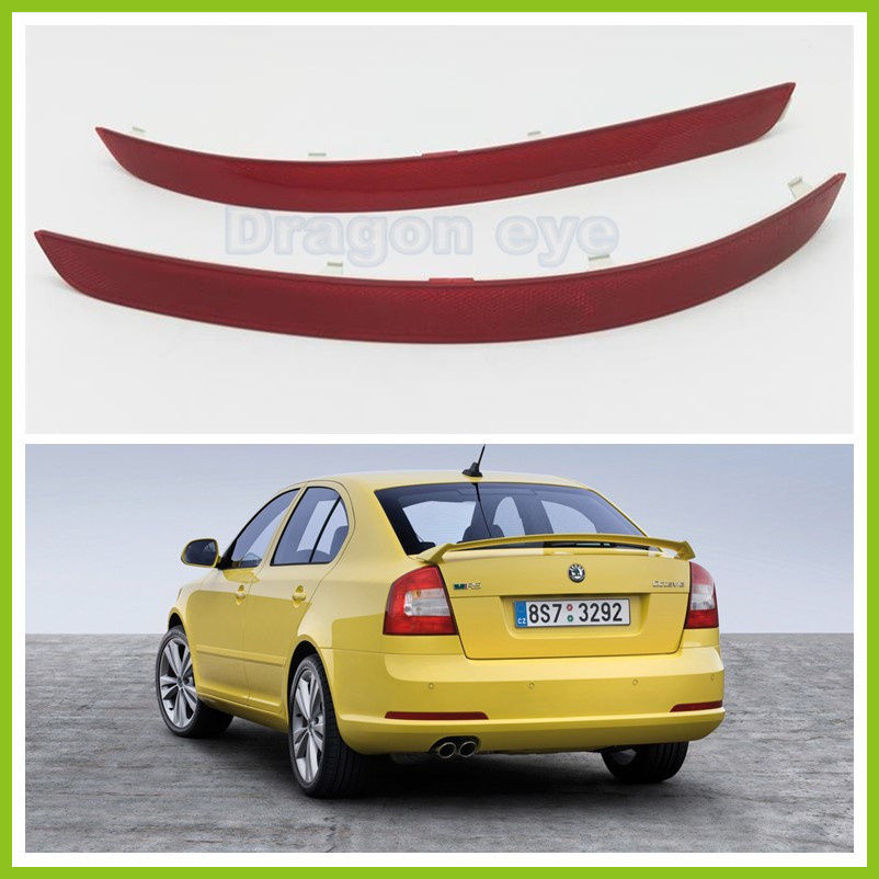 Genuine OEM For Skoda Octavia A5 A6 RS 2009 2010 2011 2012 2013 Rear Bumper Light Left and Right Bar Reflector Lamp Car-Styling car usb sd aux adapter digital music changer mp3 converter for skoda octavia 2007 2011 fits select oem radios