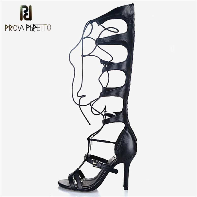 Prova Perfetto Gladiator Style Sexy Design Sandals Boots Solid Narrow Band Boots Genuine Leather Super High Heel Shoes Summer
