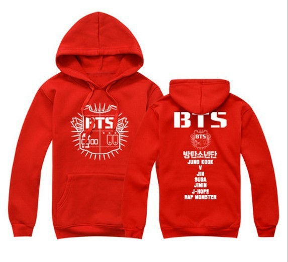 2017  Cool Hoodies Kpop  Youth Thick Fashion Knitted Print Casual Hoodies White Black Red  Bts Sudadera Popularity  Pullovers