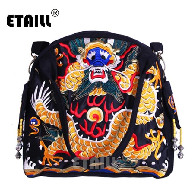 2016 Canvas Ethnic Tote Bag Flower Boho Hmong Dragon Embroidery Handbag Women Shopping Beading Bags Bolsos Mujer Sac a Dos Femme