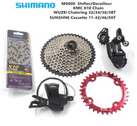 SHIMANO M6000 10 Speed MTB Mountain bicycle derailleur 42T 46T 50T sun cassette + chain + KMC X10 bike chain MTB bicycle group