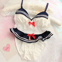 Japanese cos anime Navy beauty girl fighter Sailor Costume without steel ring bra underwear bra set lace dessous lingerie femme