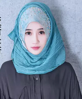 Fashion Muslim Bridal Hijab Women Head Scarf  Wrapper Beaded Pleated Blue Pink Muslim HIjab Free Shipping
