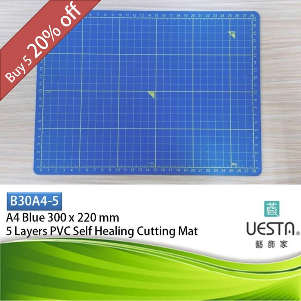 ①Azul 3.0mm rectángulo auto-curativo 5 capas PVC Cúter Esterillas ...