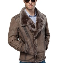 2017 Winter Cool Men Dull Polish Cowhide Fur Shell Sheepskin Fur Wool One Layer Liner Short Male Clothing Jackets Coat Outerwear