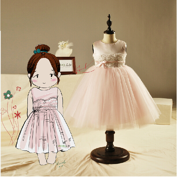 o-neck pink tulle lace sashes button   flower     girl     Dresses   for weddings 2016 first communion   dresses   for   girls   tea-length beading