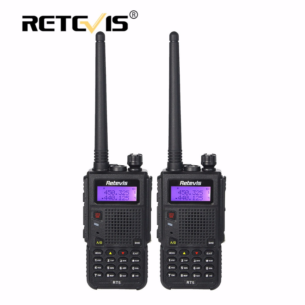 bilder für 2 stücke 8 Watt Walkie Talkie Schwarz Retevis RT5 128CH VHF UHF Frequenz tragbare cb Radio Set Long Range 2 Way Radio Station Spaziergang sprechen