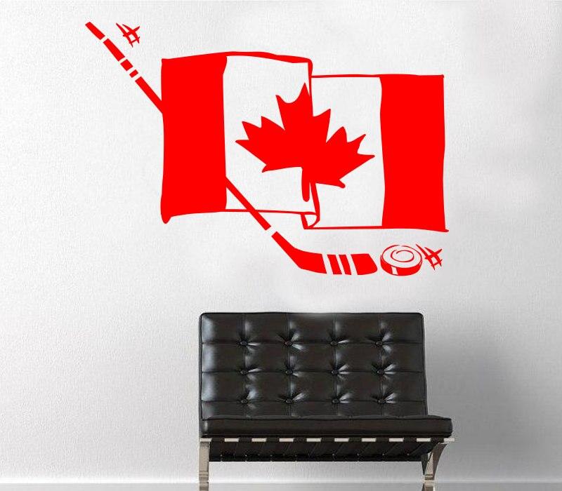 Canada Hockey Flag Wall Stickers For Kids Nursery Room