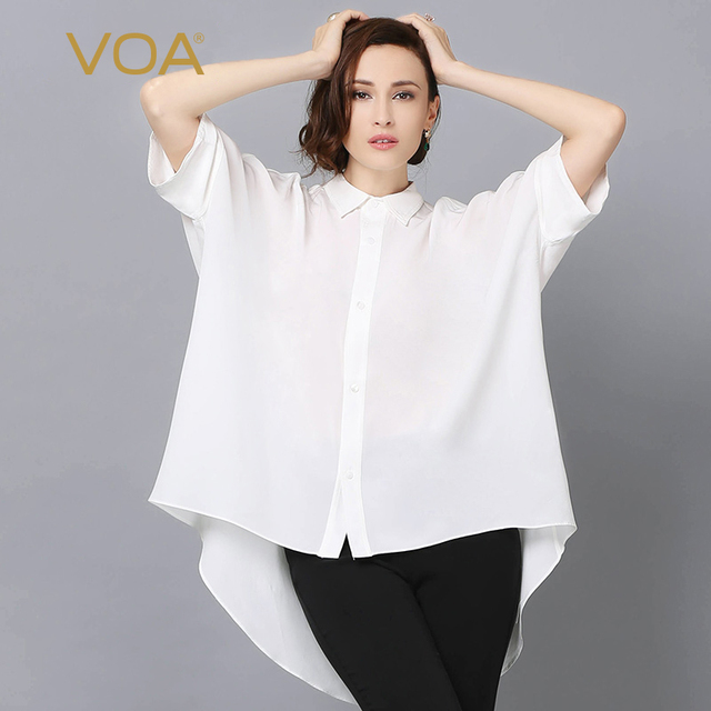 00a690334f6 VOA Summer Fashion Loose White Silk Shirt 2017 Women Spring Plus Size 5XL  Half Sleeve Sexy Solid Casual Office Blouse B5858