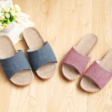 Japanese household slippers Women and men soft and comfortable hemp floor slippers