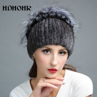 HDHOHR 2017 New Wram Real Fur Hat Winter Women Genuine Mink Fur Hat With Silver Fox Fur Knitted Beanies Fashion Women Fur Caps