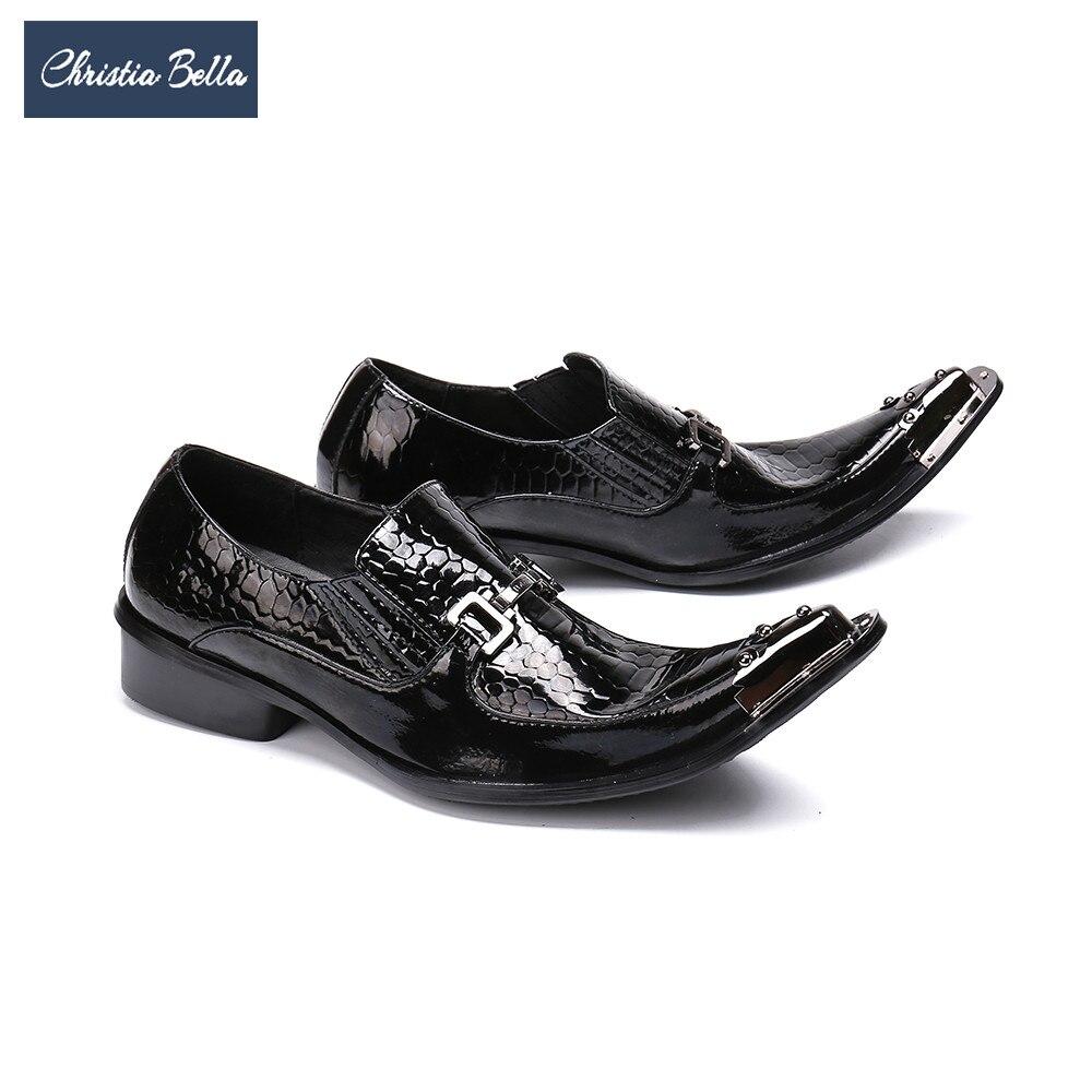 Christia Bella Style britannique en cuir véritable hommes chaussures d'affaires sans lacet Banquet de mariage formelle hommes chaussures chaussures noires