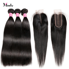 Peruvian Straight Hair With Closure Natural Color Human Hair Bundles With Closure Deals Meetu Non Remy Bundle With Lace Closure