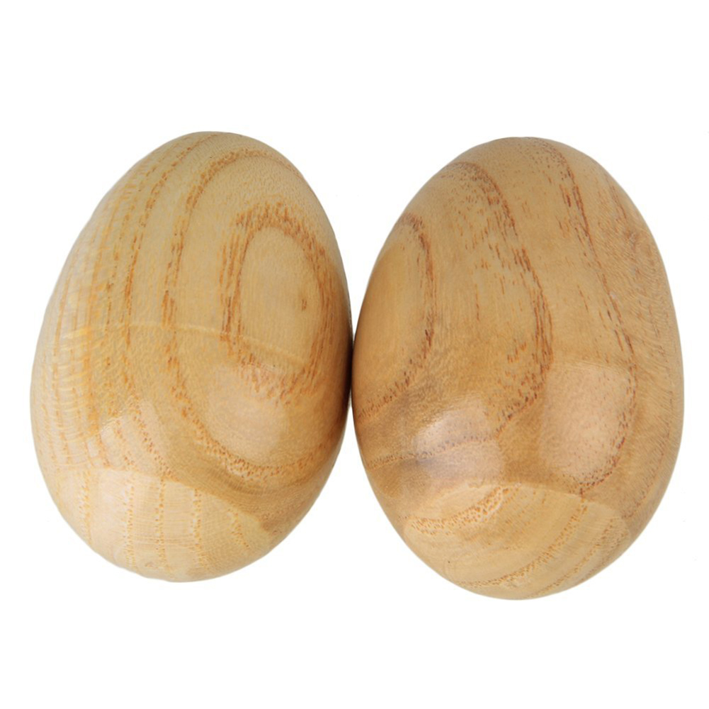 2 Pcs Musical Percussion Instruments Wooden Egg Shakers Rhythm Rattle For Baby Kids