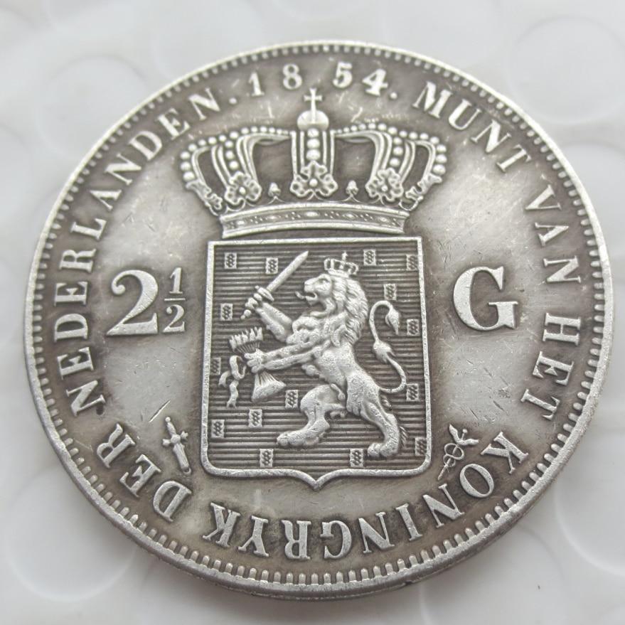 1854 Niederlande William Iii 2 12 Gulden Silber Kopie Münzen In