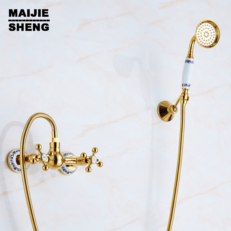Ceramic Handle Handheld bath Shower mixer Faucet Mixer Tap wall shower faucet Free Shipping wall simple golden shower set Faucet new us free shipping simple style golden finish bathtub faucet mixer tap shower faucet w ceramics handheld shower wall mounted