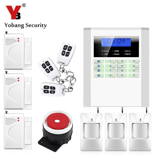 YobangSecurity 99 wireless zones 2 wired zones home alarm system pstn gsm voice prompt  LCD keyboard smart alarm system 10B free shipping 99 wireless zone and 2 wired quad band lcd home security pstn gsm alarm system 3 pet immune pirs 5 new door sensor