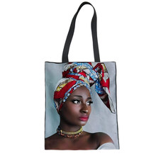 Afro Woman Portrait Wall Art 3D Bag Shopping Bags Canvas Tote Handbags For Female Casual Shoulder Messenger For Girls Drop Ship(China)