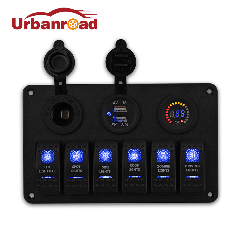 Urbanroad Car Dual USB Cigarette Lighter Socket Voltmeter Adapter 6 Gang Boat Rocker Switch Panel LED USB Marine Switch Panel 5pin 3 gang rocker switch panel 12v cigarette socket dual usb charger with red led light indicator for boat marine car