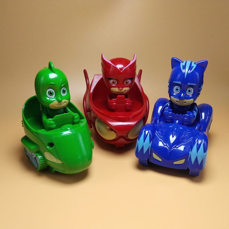 3pcs Model Driving Characters PJ Mask Car Jouet Toy Oyuncak Greg Amaya Freddy Pajamas Toy Juguetes Anime Figure