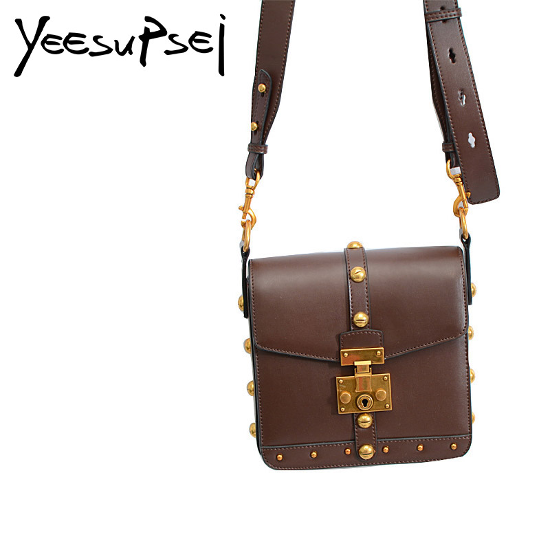 YeeSupSei Vintage Real Leather Women Bag Fashion Golden Lock Rivet Small Women Messenger Bag Wide Strap Shoulder Crossbody Bag все цены