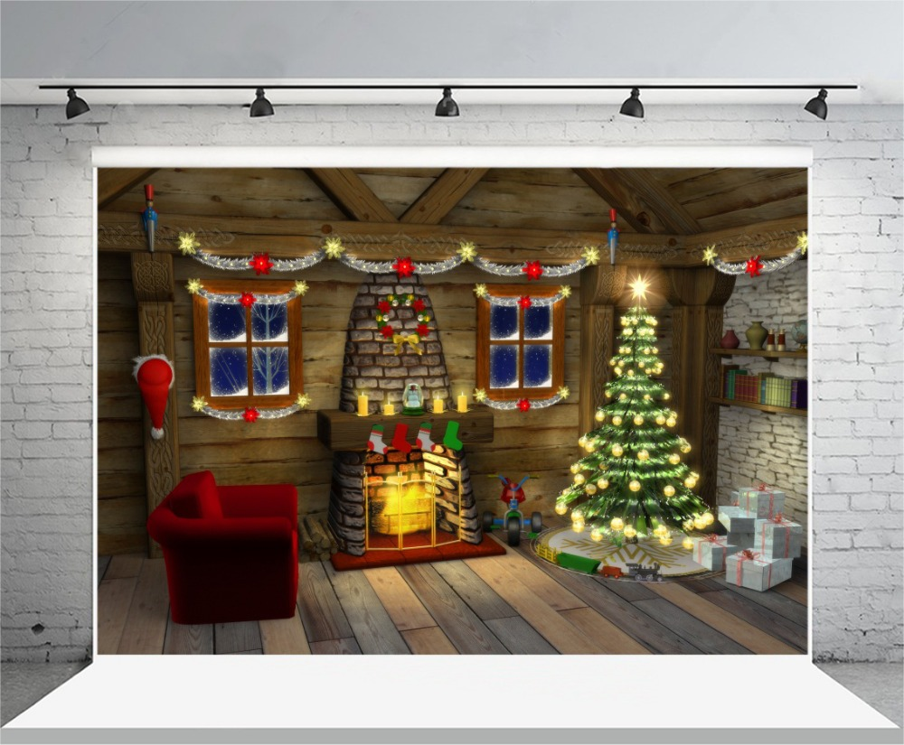 Indoor Fireplace Christmas Tree Photography Background: Aliexpress.com : Buy Laeacco Christmas Tree Fireplace Wood
