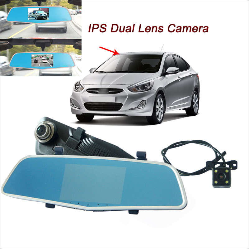 BigBigRoad Car DVR For hyundai solaris elantra Rearview Mirror Video Recorder with two cameras Dual lens 5 inch IPS Screen цена