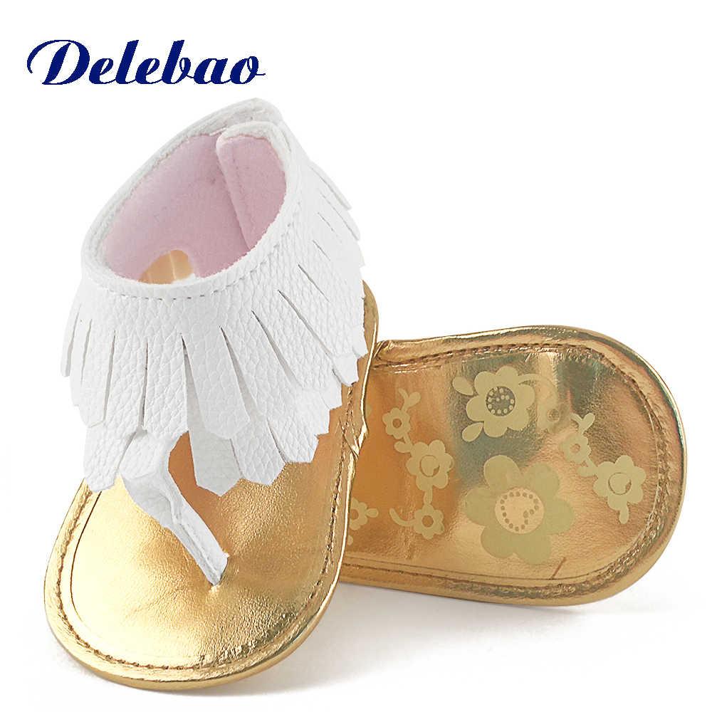 Delebao Flip Sandalen Voor Baby Schoenen Zachte Zolen Voor Gladde Baby Veiligheid Schoenen Pu Kwastje Baby Zomer Sandalen