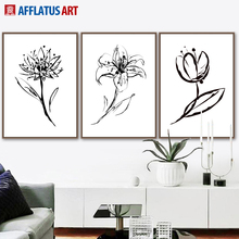 AFFLATUS Rose Lotus Flower Wall Art Canvas Painting Nordic Posters And Prints Black White Pictures For Living Room Decor