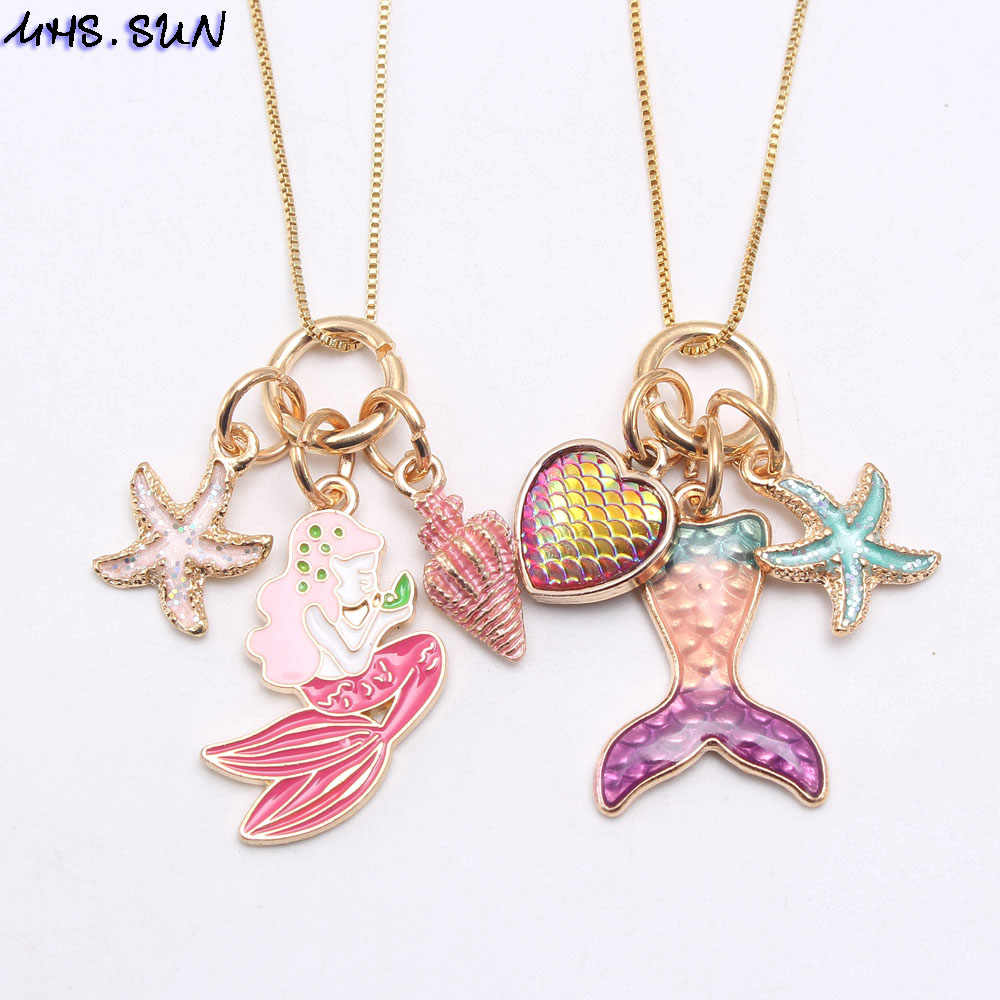MHS.SUN Cute Mermaid Tail Starfish Heart Charming Pendant Long Chain Necklace Girls Kids Fashion Chain Necklace For Party Gift