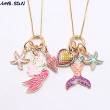 MHS.SUN Cute Mermaid Tail Starfish Heart Charming Pendant Long Chain Necklace Girls Kids Fashion Chain Necklace For Party Gift(China)