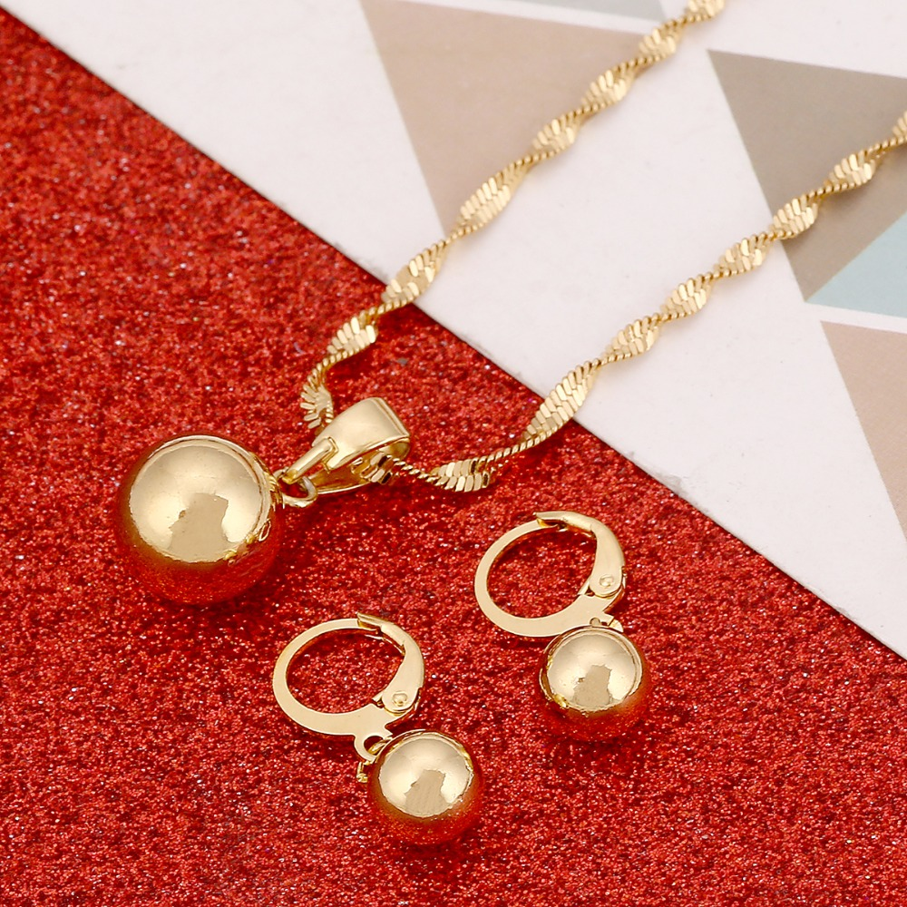 Gold Color Plain Bead Jewelry Round Pendant Chain Necklace Ball Earrings Pendant Women Jewelry Set Gift