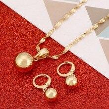 Золотого цвета, простые ювелирные изделия из бисера, круглая подвеска, цепочка, ожерелье, серьги, подвеска, женский ювелирный набор, подарок