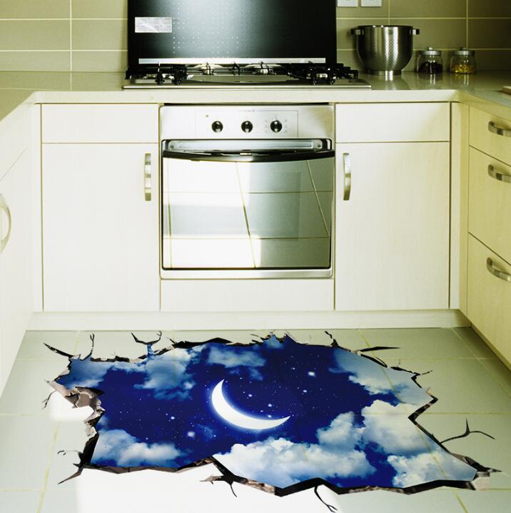 2016 New 3D Outer Space Wall Sticker Moon Stars Planet Wall Stickers For  Kids Rooms Sky Smashed ...